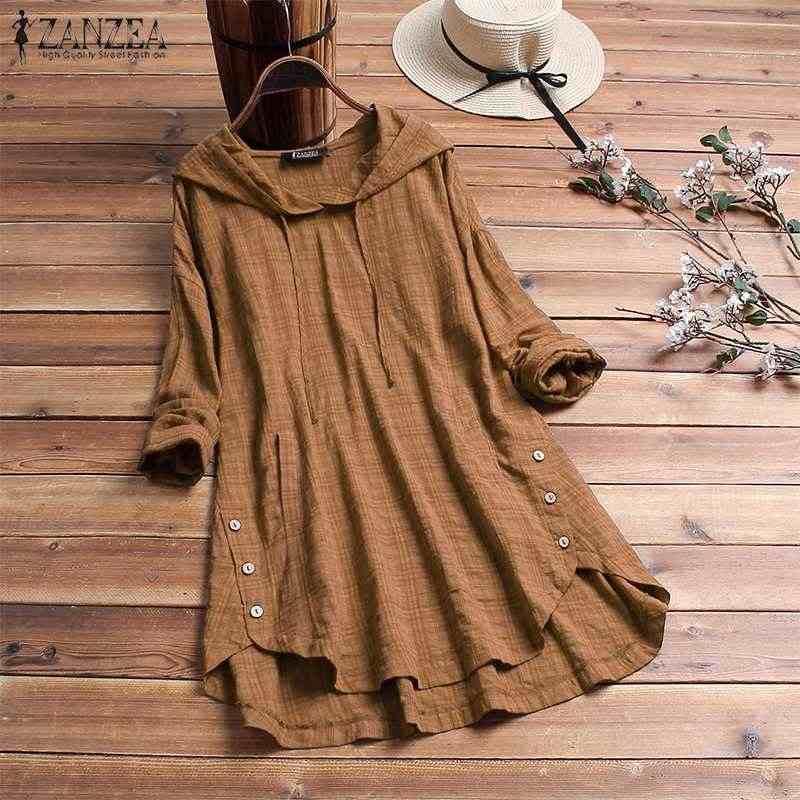 2019 размера плюс ZANZEA Весенняя блузка женская повседневная с капюшоном с длинным рукавом клетчатые свободные вечерние топы Туника женская рубашка