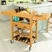 SoBuy FKW25-N Extendable Bamboo Kitchen Trolley Cart with 2 Folding Hinged Side Boards