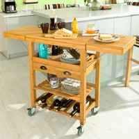 SoBuy FKW25 N Extendable Bamboo Kitchen Trolley Cart with 2 Folding Hinged Side Boards