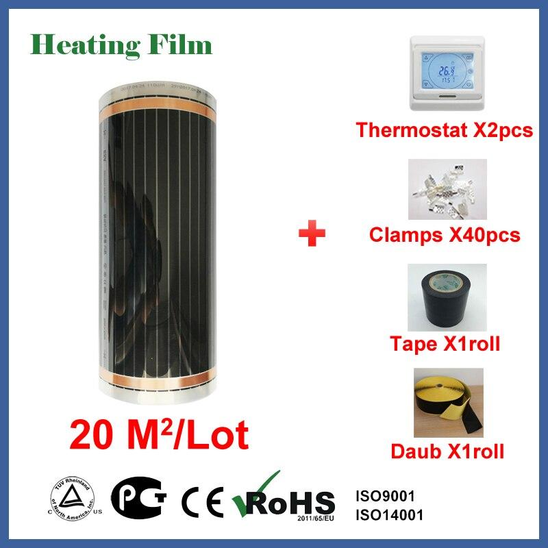 Film de chauffage par le sol 20 mètres carrés, 220 W/chauffage infrarouge carré pour chambre bon pour la santé