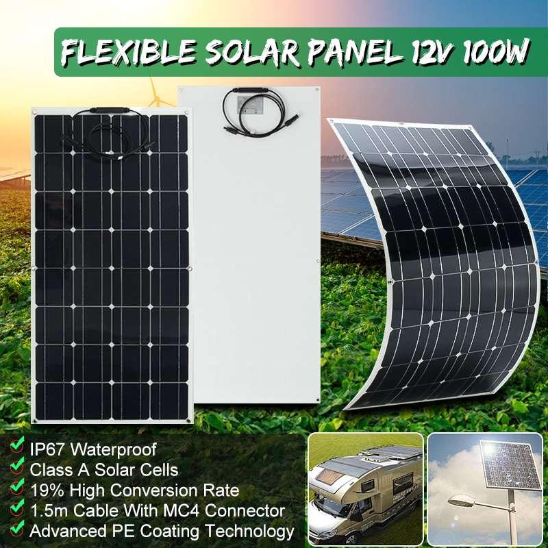 Chargeur solaire Flexible de plaque de panneau solaire de 12 V 100 W pour la batterie de voiture chargeant le Module de cellule monocristallin de 18 V pour Hause, toit, bateau