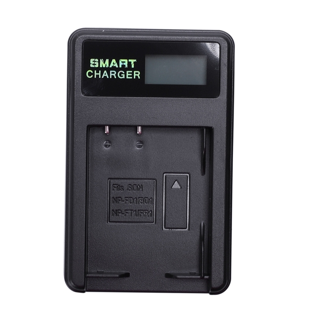 Smart Rechargeable Battery Charger Lcd Display Single Slot W Usb Cable For Np Bd1/Fd1/Ft1/Fr1 Lithium Batteries
