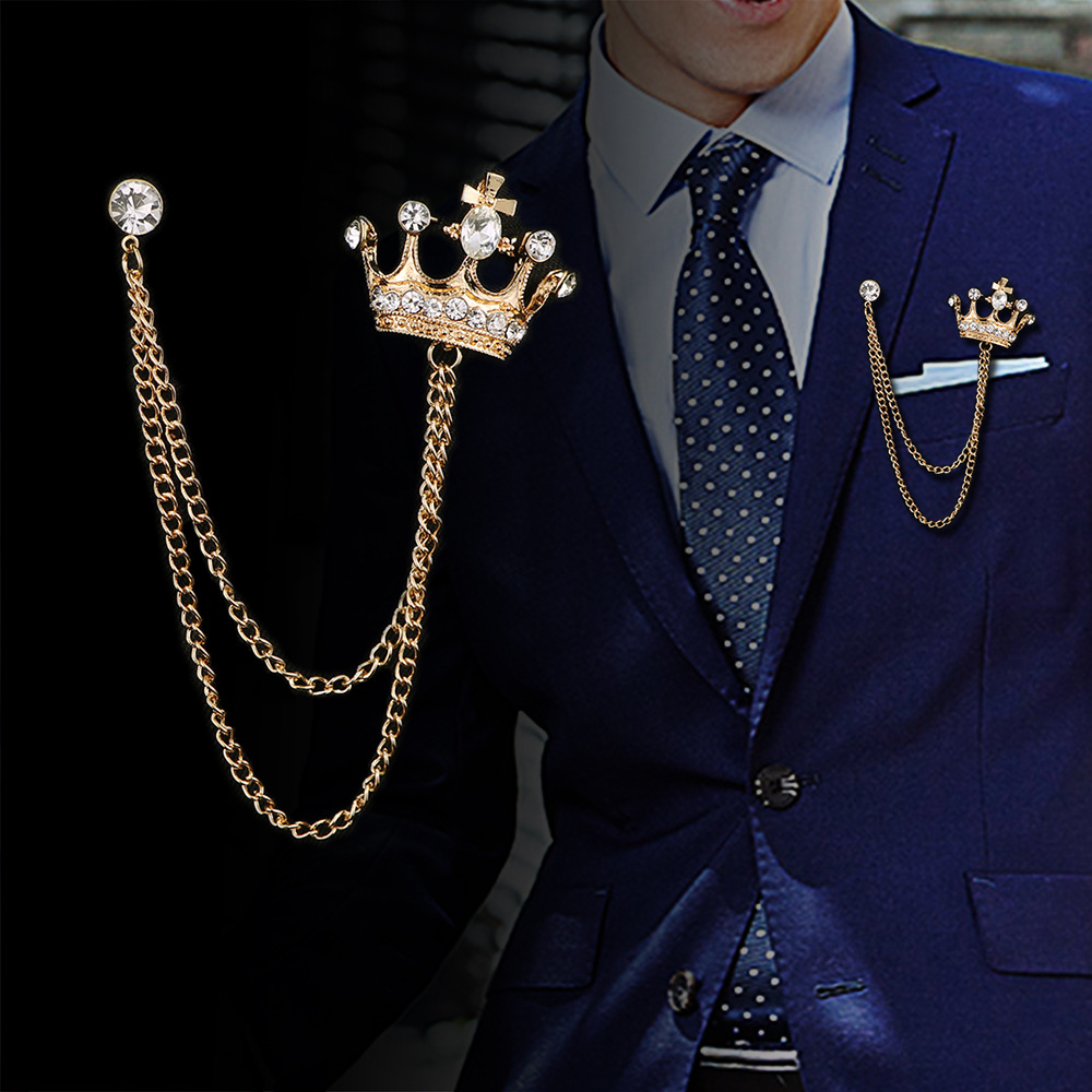 i-Remiel High-end Retro Mens Tassel Brooch Vintage British Style Pin Crystal Crown Badge Corsage for Suit Collar Accessories