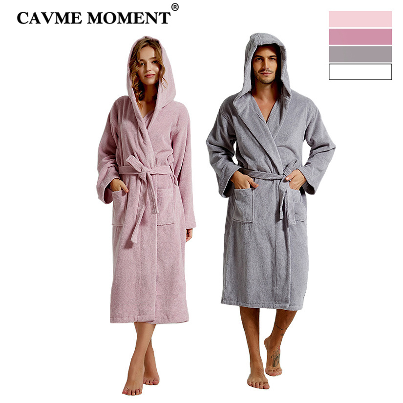 CAVME Combed Cotton Terry Bathrobe Hoodies Robe for Women Men s Long Robes Plus Size Hotel