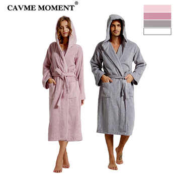 CAVME Combed Cotton Terry Bathrobe Hoodies Robe for Women Men's Long Robes Plus Size Hotel Robes Thicken Long Lounge Nightgown - DISCOUNT ITEM  42% OFF All Category
