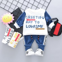 цена Fashion Baby Boys Girls Cotton Clothing Suits Spring Autumn Children T-shirt Pants 2Pcs/Set Kids Sport Clothes Toddler Tracksuit онлайн в 2017 году