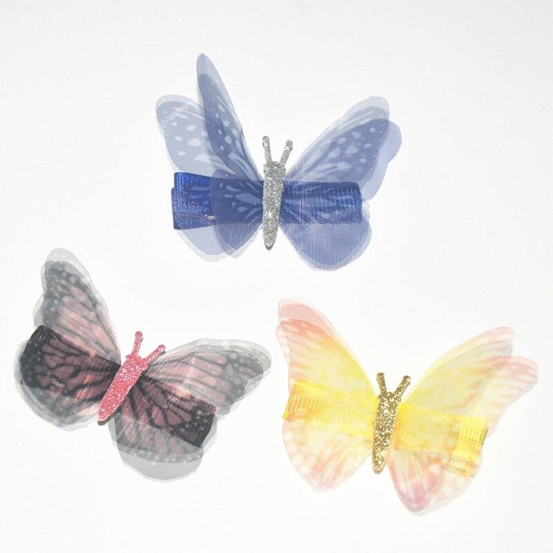 Kids Girls Cute Princess Butterfly Duckbill Clip Chiffon Double Layer Hair Clips