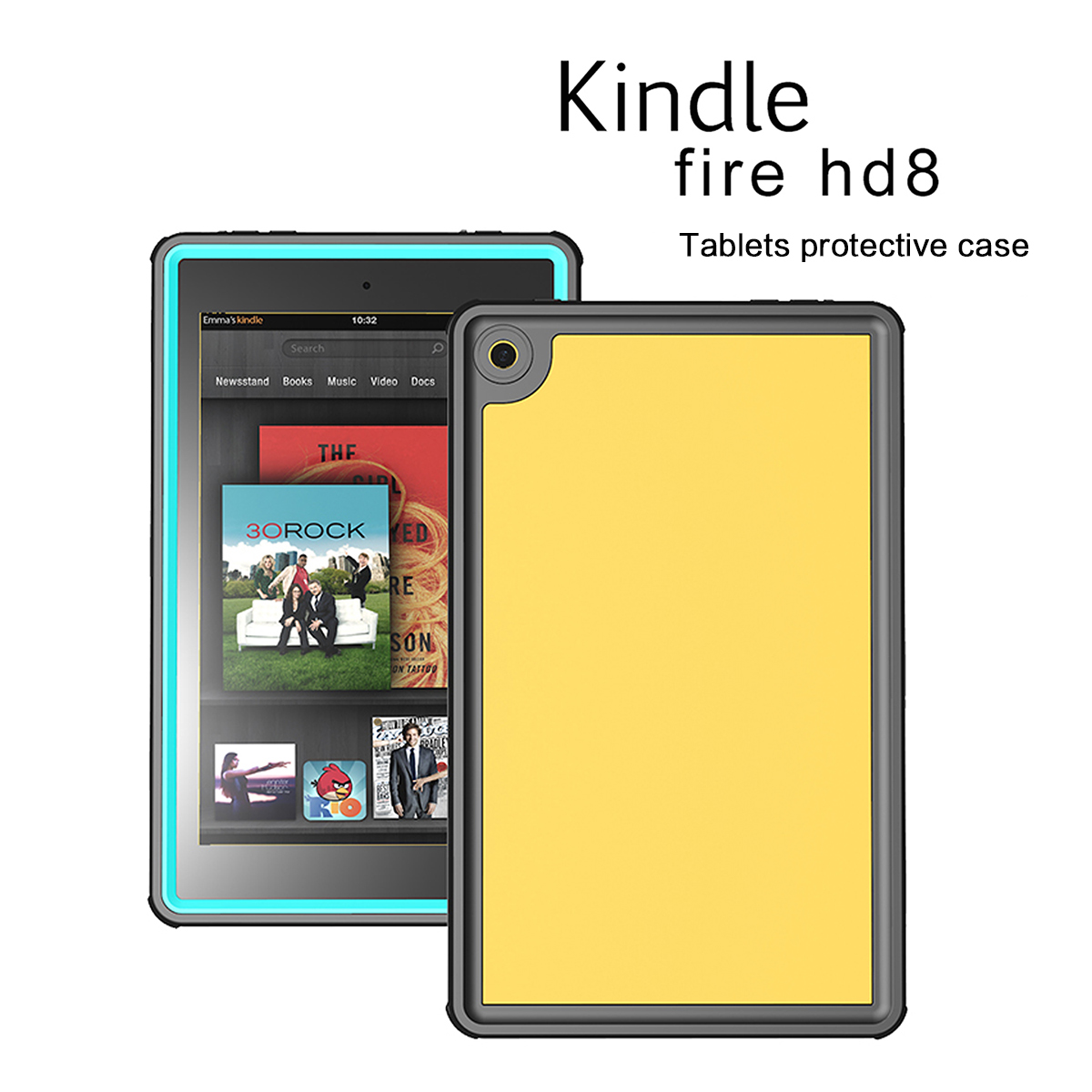 For Amazon Kindle Fire HD 8 2016 Waterproof Underwater Tablet Case Shockproof Rain Snow Dust Proof Protective Tablet Cover Case