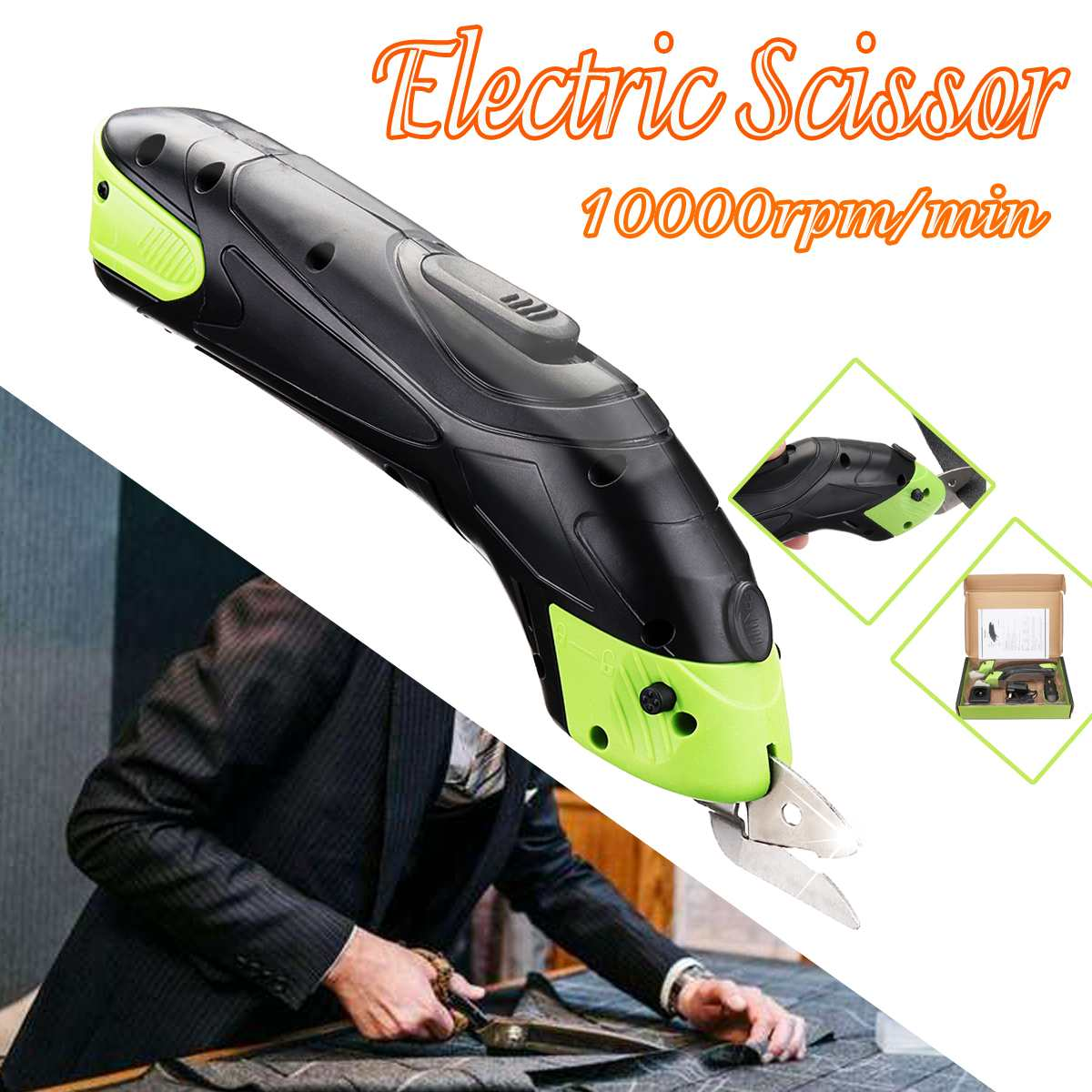 Doersupp 3.6V Multipurpose Cordless Electric Scissor Auto Cutter Chargeable Fabric Sewing Scissors Handheld Wth 2 Battery