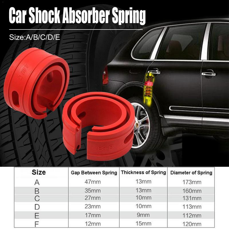 2pcs Red Color Car Shock Absorber Spring Bumper Power Auto Buffers A/B/C/D/E/F Type Springs Bumpers Cushion
