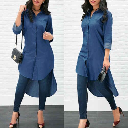 2019b Kadınlar Uzun Kollu Denim Jean Yaka Gömlek Elbise Kısa Midi Elbise Üstleri Artı Boyutu