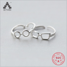 New Design 925 Sterling Silver Creative Mix Personality Hollow Glasses Open Ring Fine Jewelry