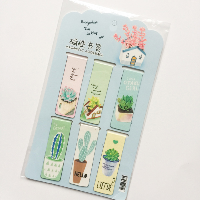 6pcs Cactus Magnetic Bookmark Cute Green Plants Book Mark For Book Clip Office Girls Gifts Kawaii Stationery School Supplies