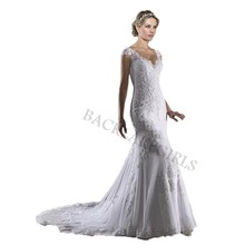 Vintage Mermaid Wedding Dress Short Sleeves Bride Dresses