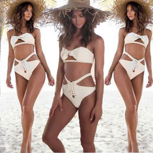 cd331864ef 2019 Fashion New Women Push up Padded Bra Bandage Bikini Swimsuit Swimwear  Bathing Casual Suit white Outerear Sexy Cute-in Bra   Brief Sets from  Women s .