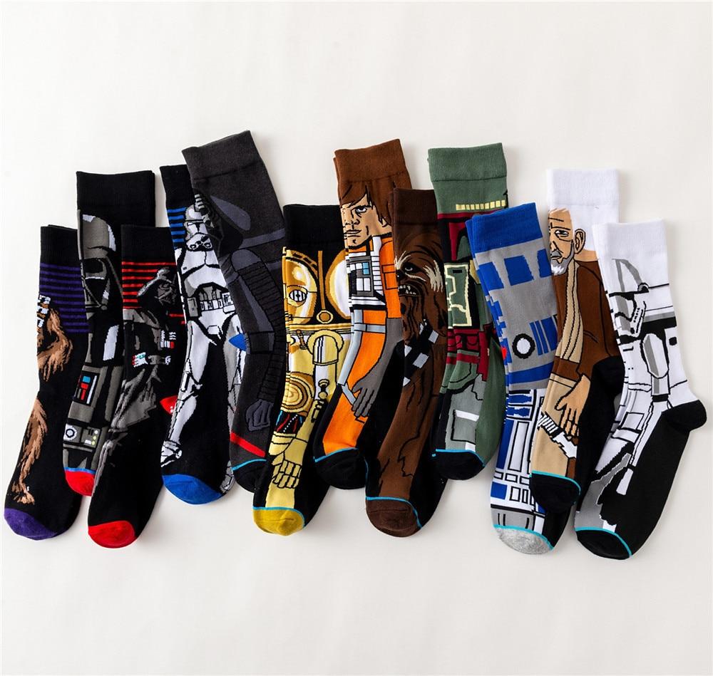 Movie Star Wars Adult Men Crew Cotton Funny Long Happy Dress Sock High Quality New Casual Novelty Funny Sock Harajuku Hip Hop