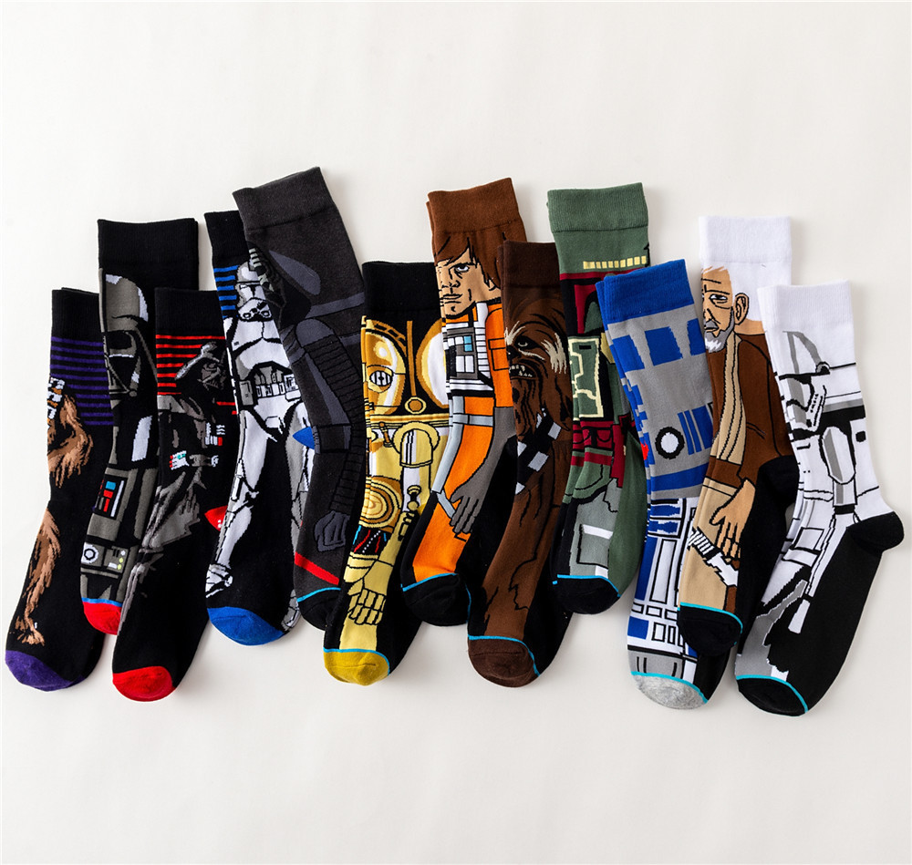Movie Star Wars Adult Men Crew Cotton Funny Long Happy Dress   Sock   High Quality New Casual Novelty Funny   Sock   Harajuku Hip Hop