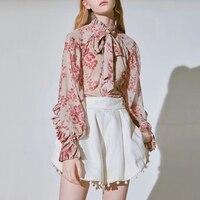 SHENGPALAE Casual Print Tops Female Bowknot Lace Up Turtleneck Lantern Long Sleeve Shirts Blouse Women 2019 Spring Fashion FL851