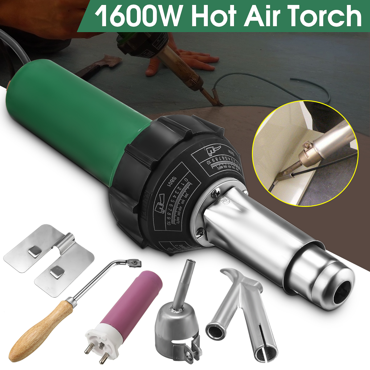 1600W 50/60HZ AC 220V Electronic Hot Air Plastic Welding Torch Gun With Nozzle Heating Core Hat Mouth Kit For Welding Machine