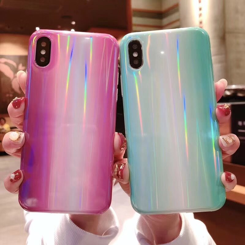 TIKITAKA Aurora laser marble Case for iphone X XR XS XS Max Glossy soft silicone Case For iphone 6 6s 7 8 7plus phone back cover