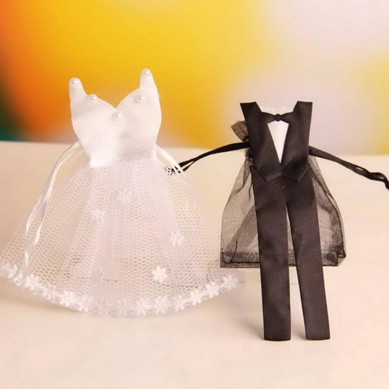 Adeeing 24pcs Organza Drawstring Candy Bag Bride Dress Groom Tuxedo Gift Pouches Wedding Party Favors New Year