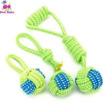 1PC Pet Supply Dog Toys Dogs Chew Teeth Clean Outdoor Training Fun Playing Green Rope Ball Toy For Large Small Dog Cat(China)