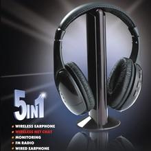 Высококачественные беспроводные наушники 5 в 1 часы наушники для ТВ беспроводная гарнитура для MP3 PC стерео ТВ FM