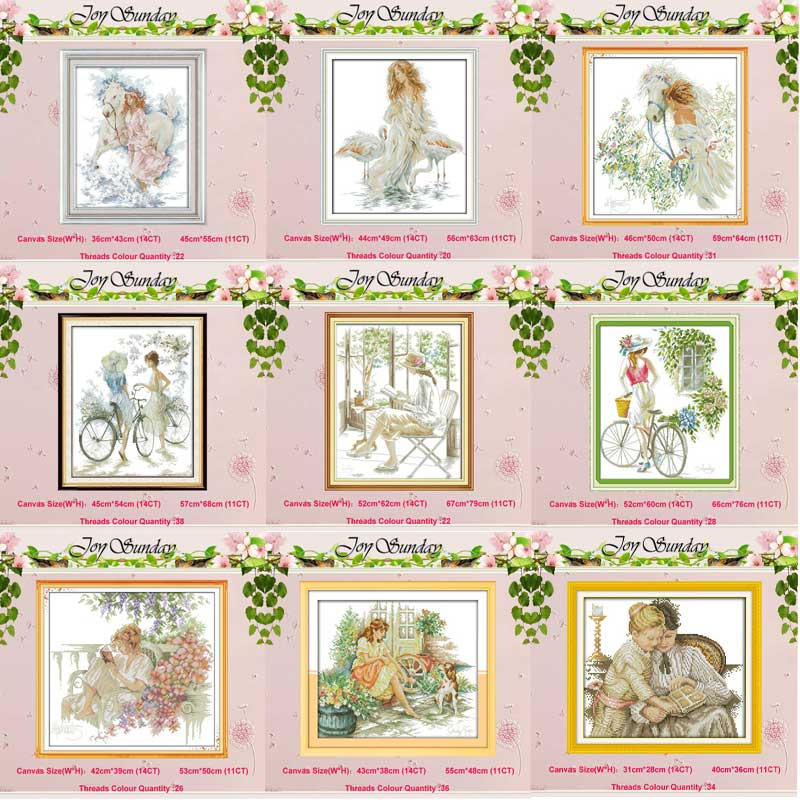 SJ029 Stich Cross Stitch Kits Craft Packages Cotton Seasons Painting Counted Needlework Embroidery Cross-Stitching Color : SJ029, Cross Stitch Fabric CT Number : 14CT
