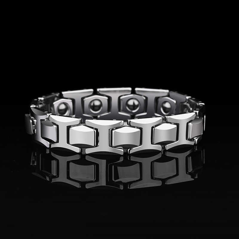 New Arrival 12mm Width High Polished Tungsten Carbide Bracelet with Magnet Stones & Germanium for Man's Jewelry 19/20.5/21.5CM