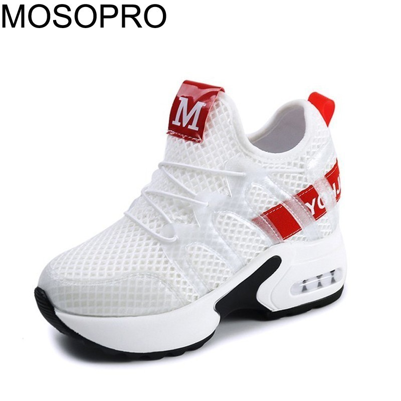 MOSOPRO Shoes Women Shoes 8CM White Sneakers Spring Running Shoes Woman Height Increasing Sneaker Summer Tennis Shoes Mesh S067MOSOPRO Shoes Women Shoes 8CM White Sneakers Spring Running Shoes Woman Height Increasing Sneaker Summer Tennis Shoes Mesh S067