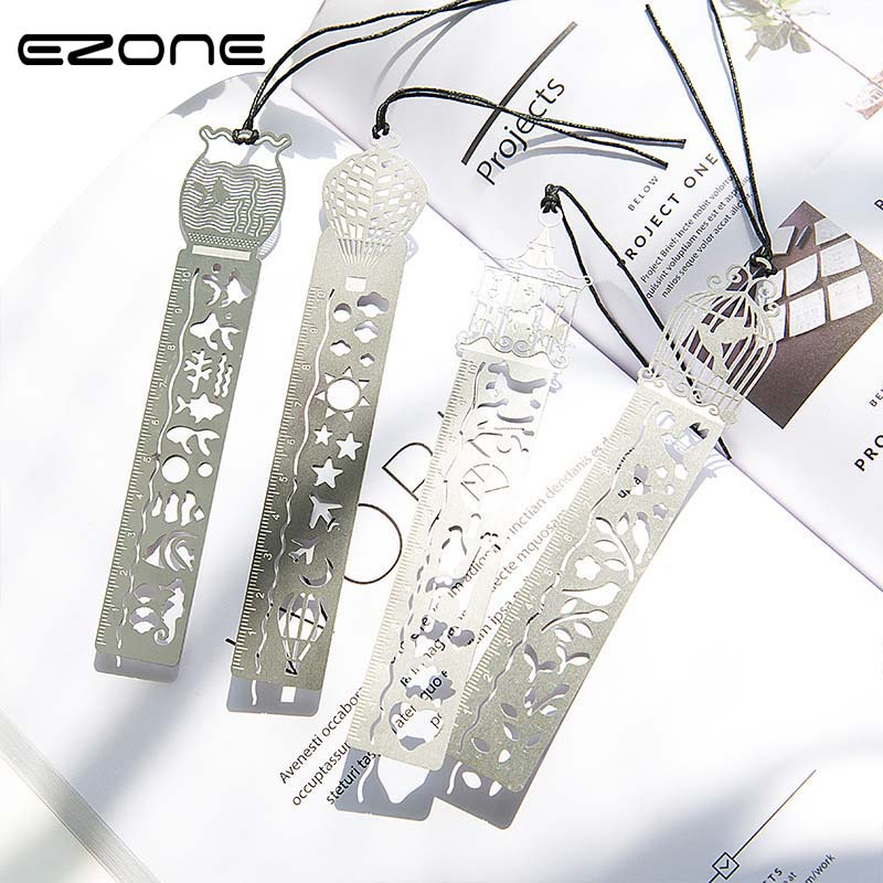 EZONE 1PC Creative Hollow Bookmark Metal Silver Bookmark For Kids Students Gifts Chinese Ancient Style Bokmark Drawing Compass