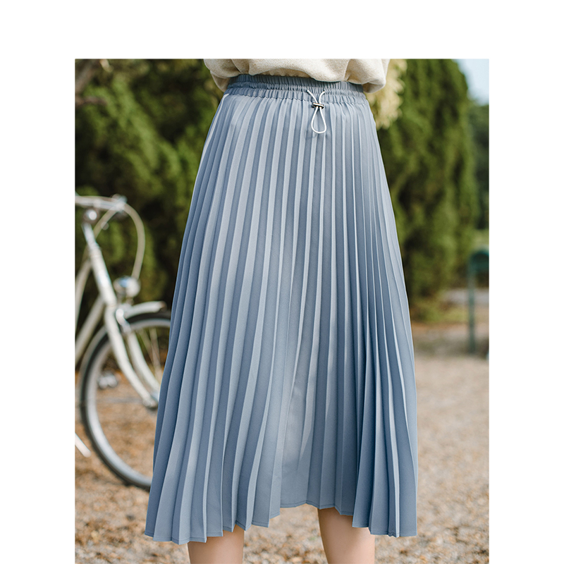 Image 4 - INMAN Spring Autumn High Waist Slim Literary Retro Casual All match Women A line Pleated Long SkirtSkirts   -