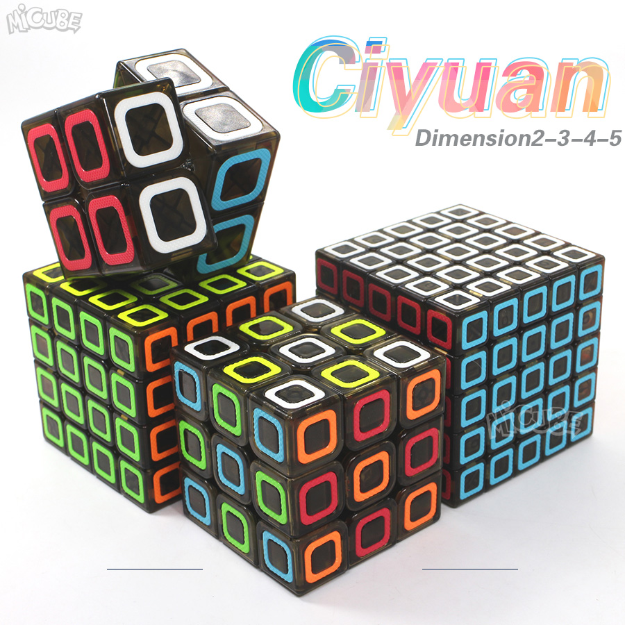 Qiyi Cube 2x2 3x3 4x4 5x5 Ciyuan Magic Speed Cube Transparent Black Dimension Toys For Children QizhengS