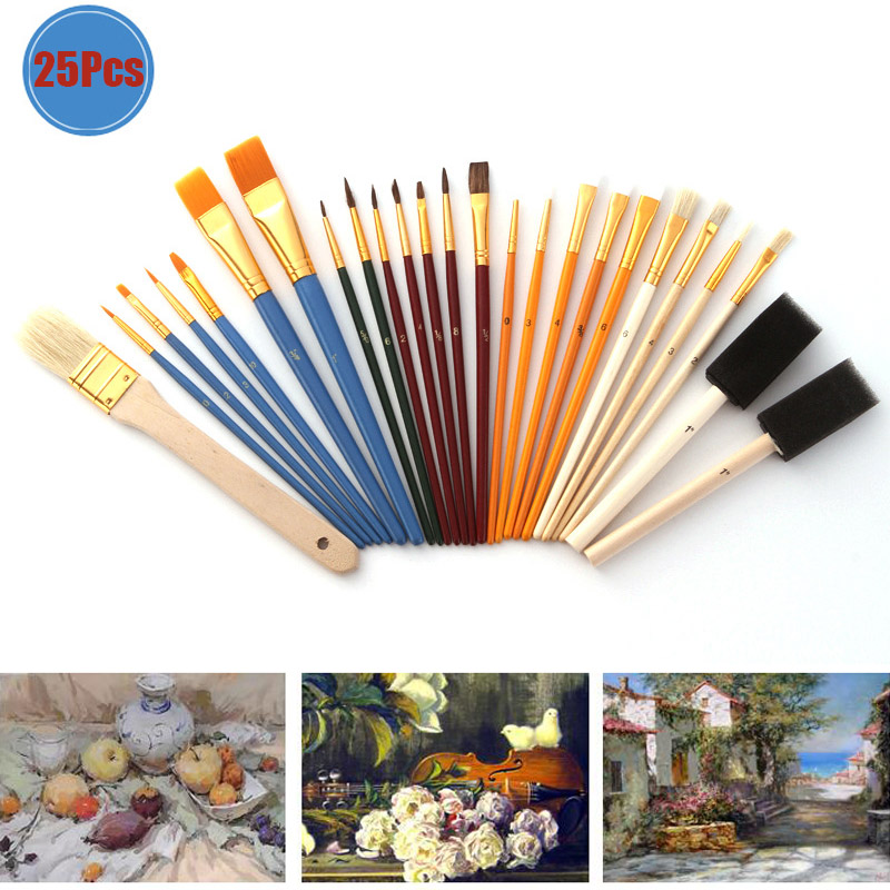 25Pcs/set Multifunction Oil Paint Brush Set Different Model Size Drawing Brushes For Watercolor Gouache School Art Supplies