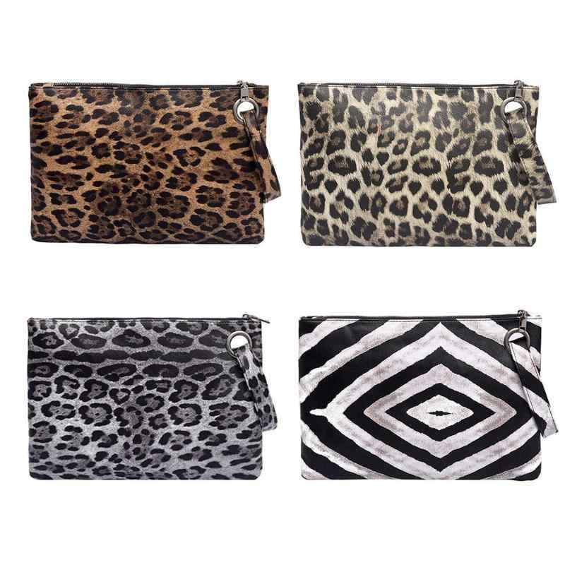 38357531590b ... Leopard Print Clutch Bag PU Leather Hanbags Women Zipper Coin Purse  Fashion Female Evening Clutch Bags