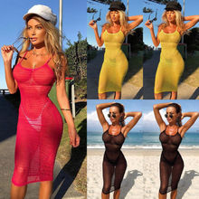 db4ad18f3f UK Seller Women Summer Mesh Fishnet Bikini Cover Up Swimwear Bathing Beach  Dress