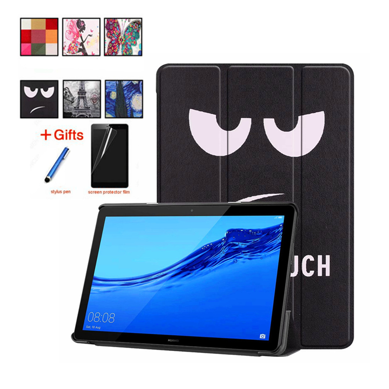 Case For Huawei Mediapad T5 10 AGS2-W09/L09/L03/W19 10.1'' Cover Funda Tablet PU Leather Painted Cases Stand Shell +Film+Stylus