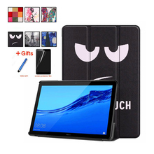 Case For Huawei MediaPad T5 10 AGS2-W09/L09/L03/W19 10.1'' Cover Funda Tablet PU Leather Painted cases Stand Shell +Film+Stylus slim business retro flip stand cover case for huawei mediapad m5 lite 10 case bah2 w09 bah2 l09 bah2 w19 10 1 tablet shell