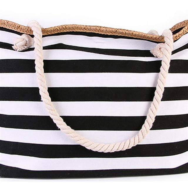 2019 New Beach Tote Bag Fashion Women Canvas Summer Large Capacity Striped Shoulder Bag Tote Handbag Shopping Shoulder Bags 2