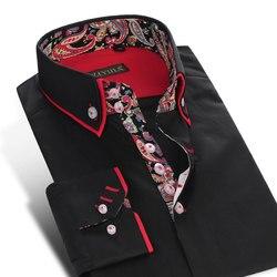 Chinese Stijl Bloemen mannen Dubbele Laag Kraag Jurk Shirts Lange Mouw Zwart Button Down Katoenen Shirt