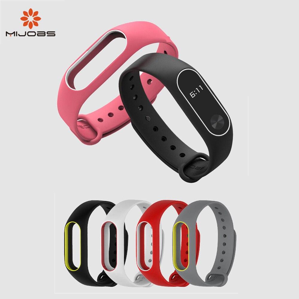Mijobs Xiaomi Mi Band 2 Strap Bracelet Wristband Silicone Strap Smart Band Accessories Wrist Strap And Screen Protector Film