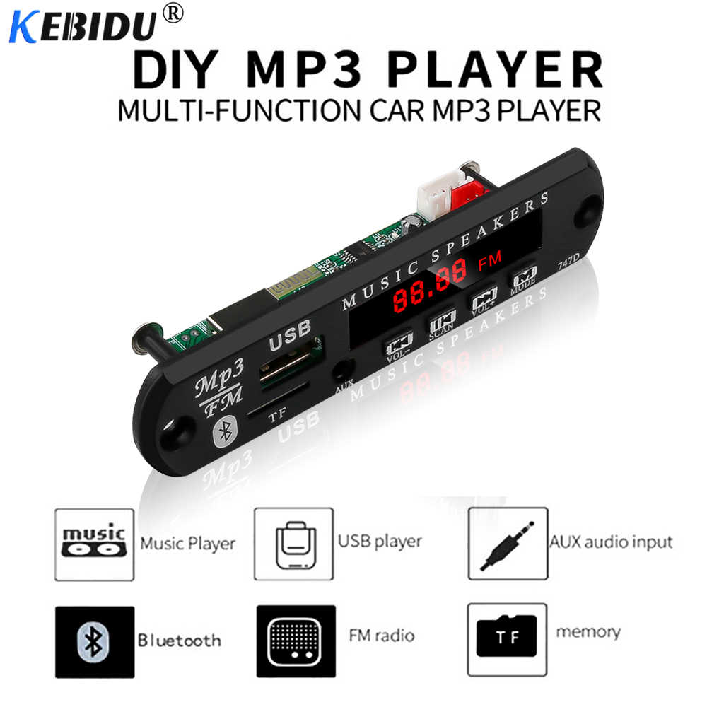Kebidu sem fio bluetooth mp3 player módulo de áudio diy decodificador placa usb tf fm rádio 5 v 12 v construir no carro para alto-falante carro kit