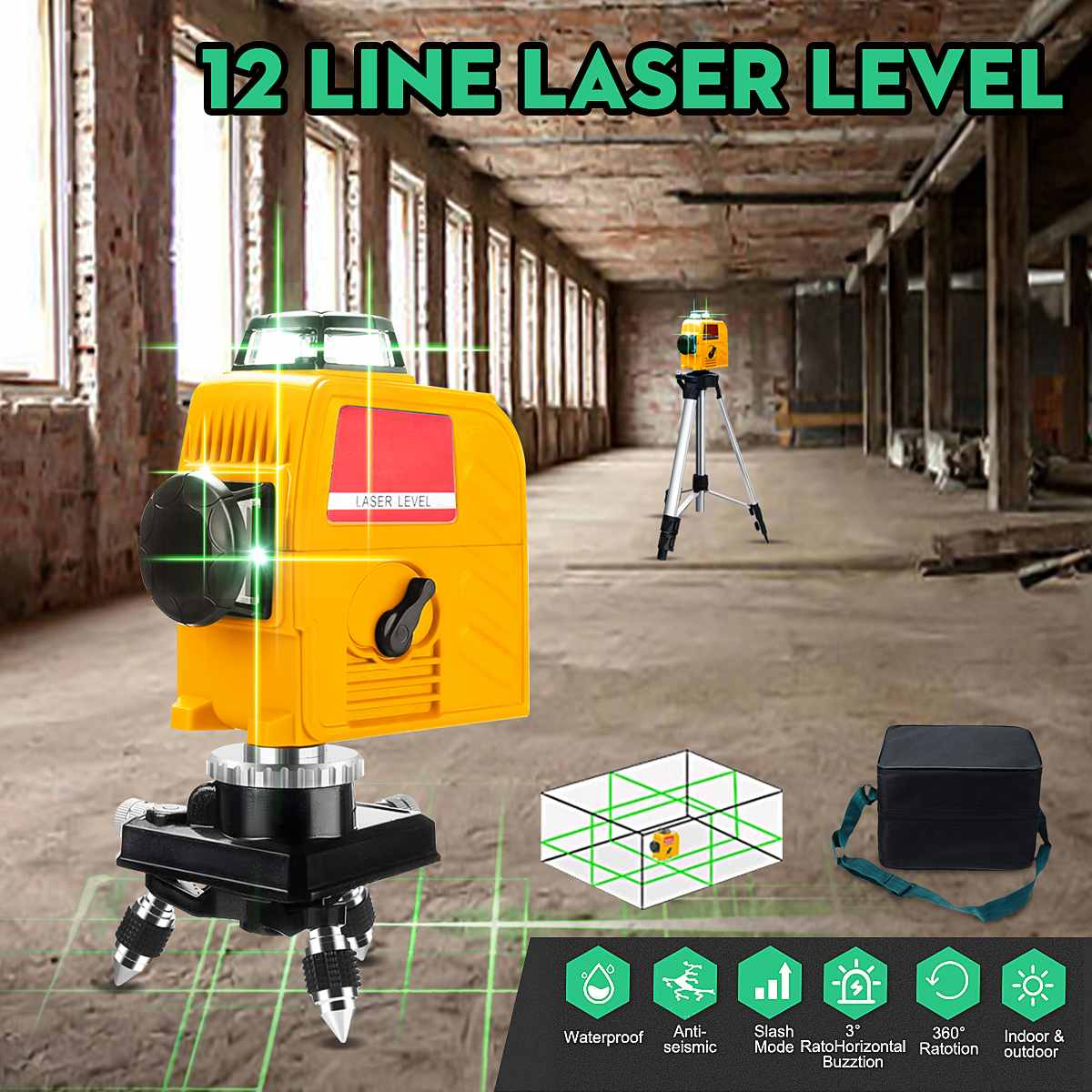 3D 12 Lines Green/Blue Line Laser-Level 360 Degree Cross Self Leveling Engineer Waterproof  IP-54 AC 100-240V Wear-resisting3D 12 Lines Green/Blue Line Laser-Level 360 Degree Cross Self Leveling Engineer Waterproof  IP-54 AC 100-240V Wear-resisting