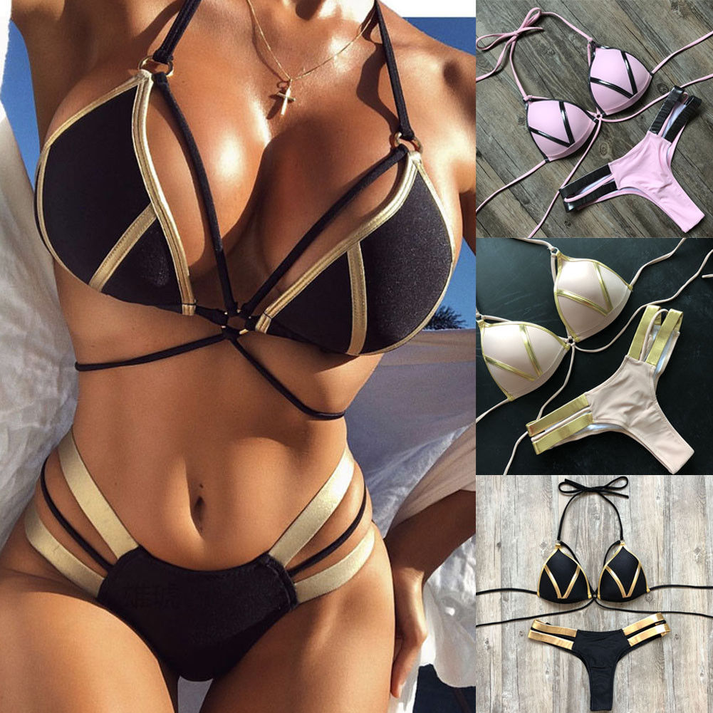 Thefound 2019 Fashion Women High Waist Swimwear   Bra     Set   Push-up Padded   Bra   Bathing Suit Swimsuit