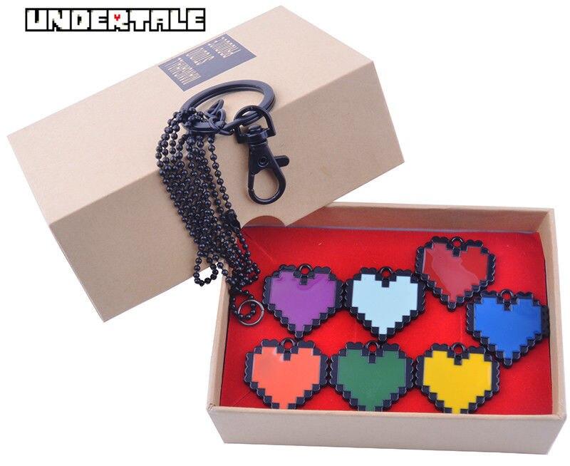 Wellcomics 7 teile/satz Spiel Undertale Sans Frisk Rot Herz Seele Symbol Metall Anhänger Halskette Kette Cosplay Sammlung + Geschenk Box