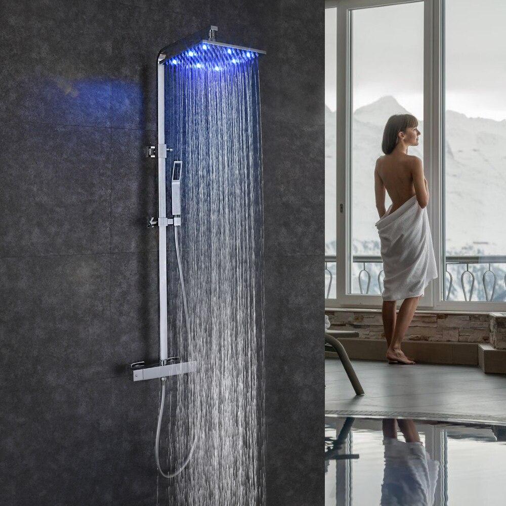 SKOWLL système de douche de salle de bain mural LED ensemble de douche de pluie robinet Thermostat robinet mitigeur de bain