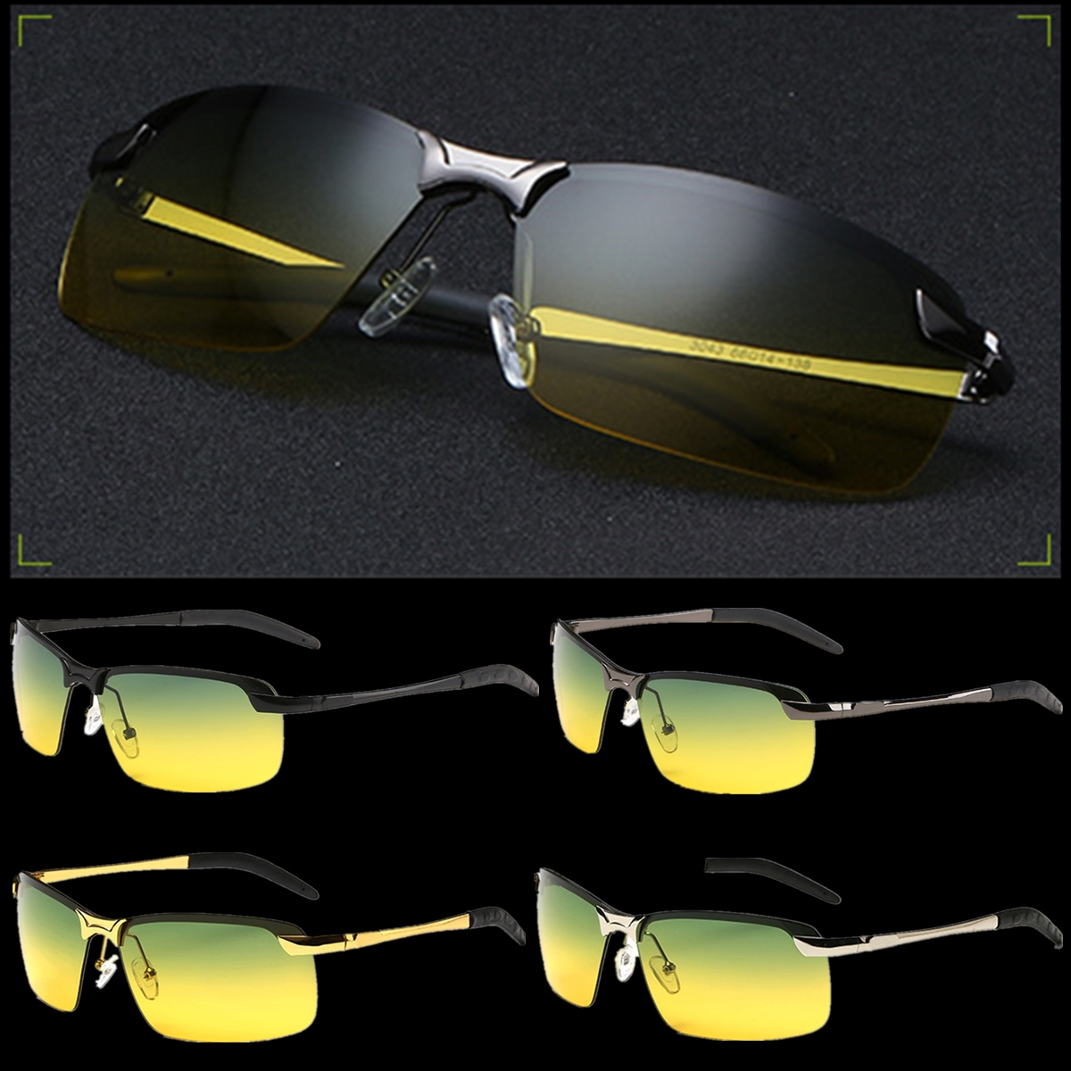 Night Vision Driving Glasses Anti-Glare Mens Metal Day HD Polarized Sunglasses Fashion Eyewear