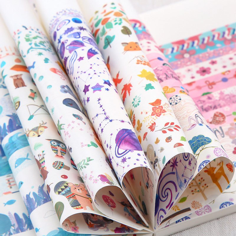 10pcs/Lot Lovely Animals Washi Tape Blue Ocean Decorative Adhesive Diy Scrapbooking Masking Tape For Girls Gifts School Supplies