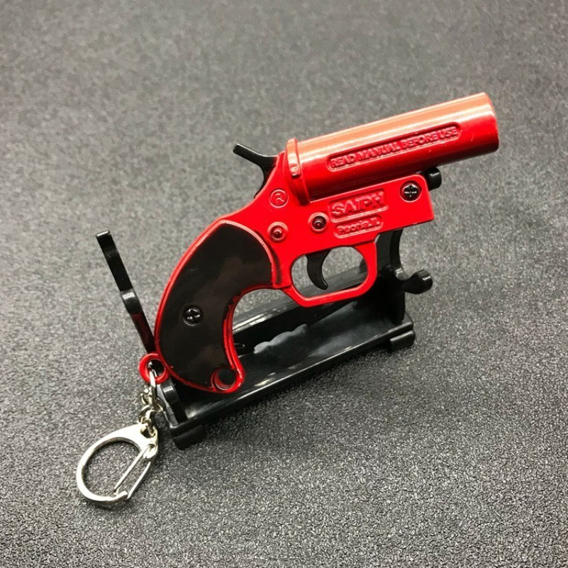 Game Weapon Toys Key Chian Playerunknown's Battlegrounds PUBG Keychain Flare Gun Red Alloy Pendant Men Llaveros Jewelry For Men
