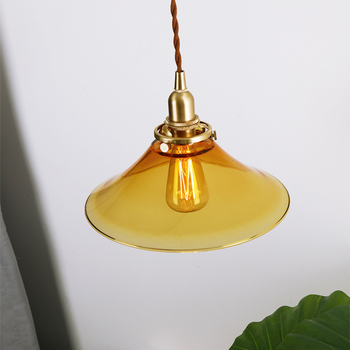 EL Vintage Glass Brass Pendant Lamp in the shape of Trumpet Bedroom Livingroom Indoor Lighting